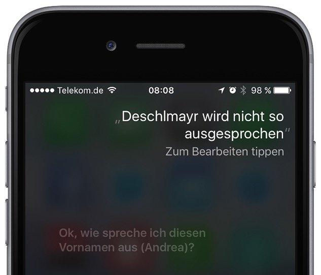 Siri Aussprache iPhone korrigieren 1