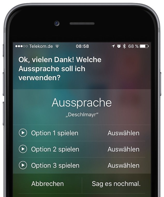 Siri Aussprache iPhone korrigieren 2