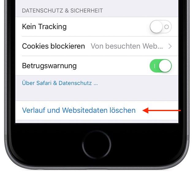 iPhone Safari-Cache löschen 1