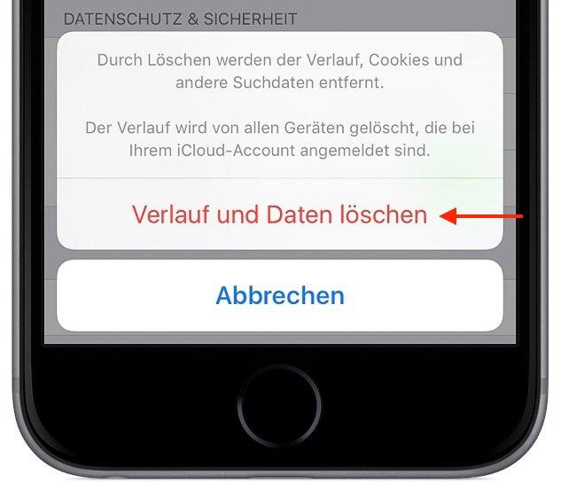 iPhone Safari-Cache löschen 2