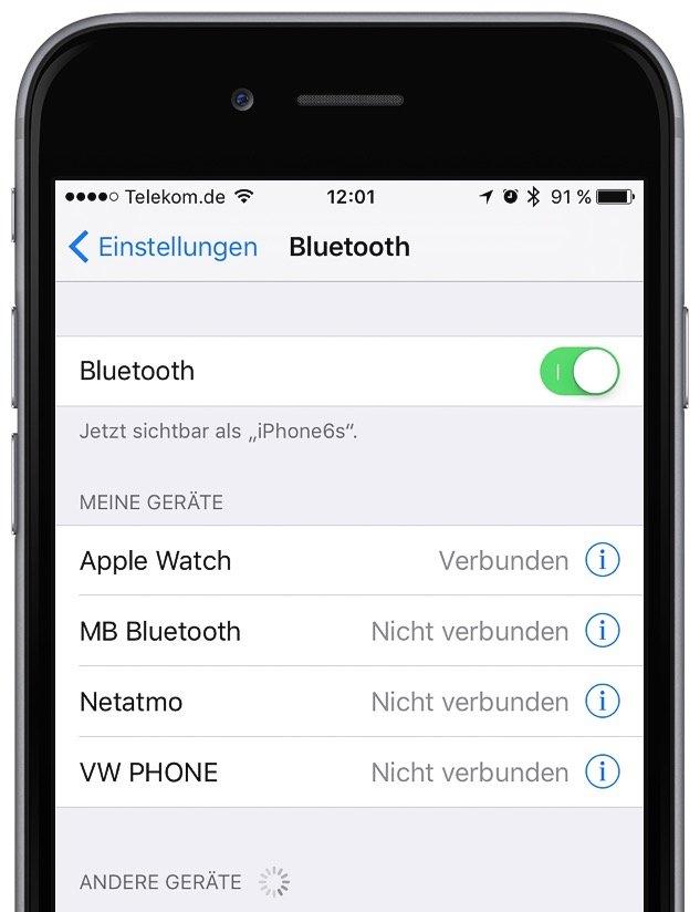 iPhone Strom sparen Bluetooth aktivieren deaktivieren einschalten ausschalten 1