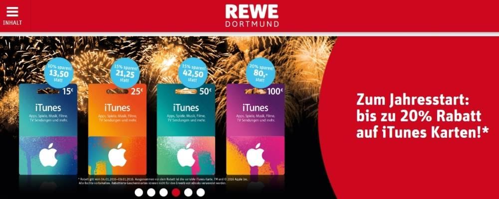 iTunes-Karten Bis 20 Prozent Rabatt bei REWE