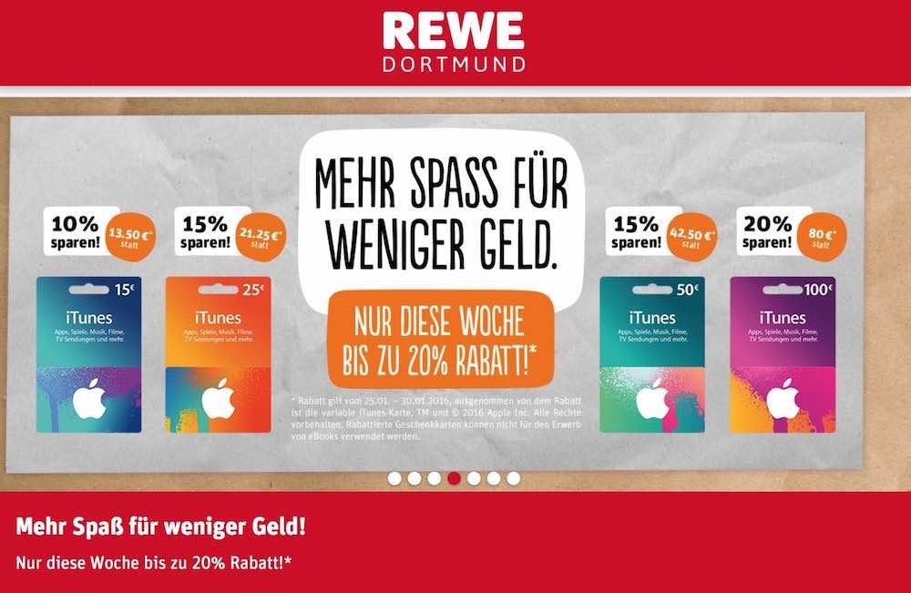 iTunes-Karten bis zu 20% günstiger bei REWE