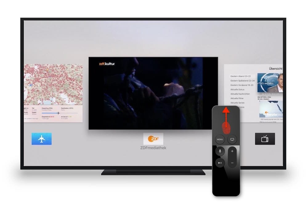 Apple TV 4 App beenden Siri Fernbedienung Remote Home Taste App Switcher Task Manager