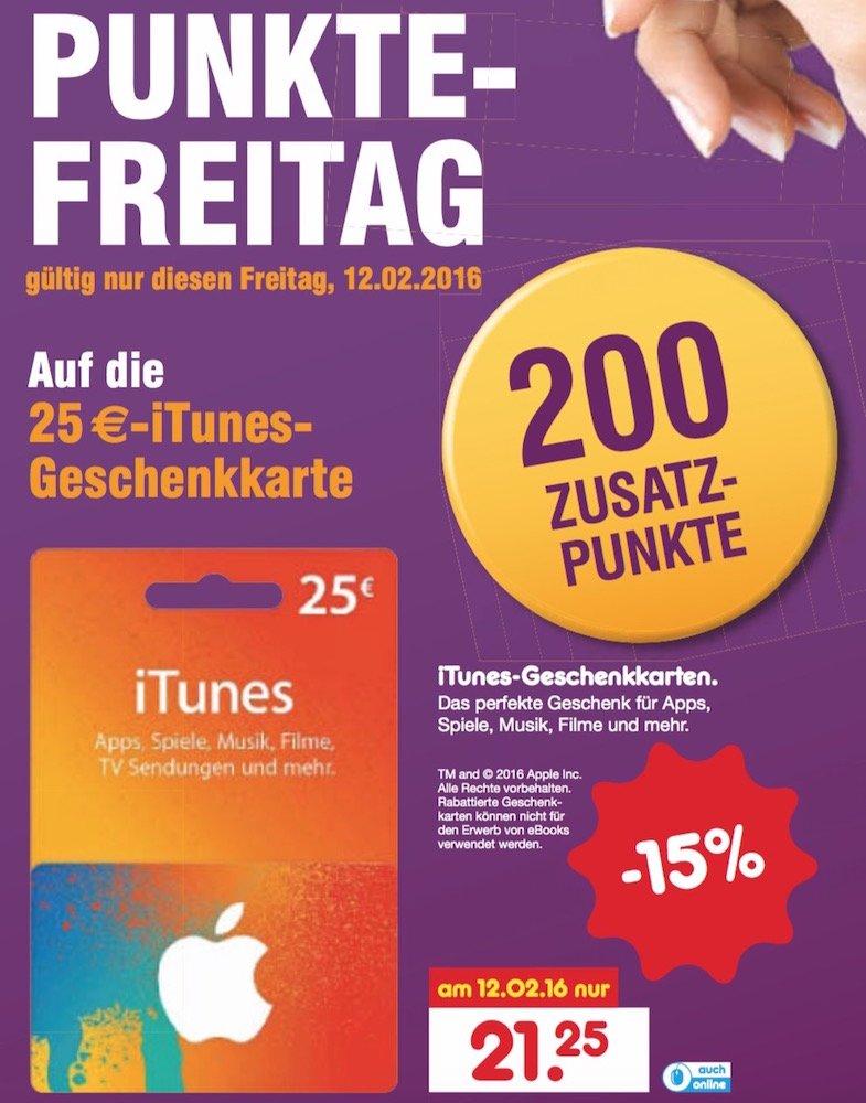 Apple iTunes Karten Rabatt Geschenkkarte Punkte Freitag Netto Discount