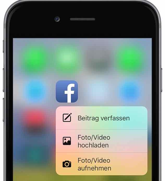 Facebook App iPhone 6s Peek und Pop 1