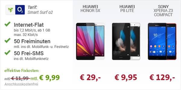 Huawei P8 lite Honor 5X Sony Xperia Z3 Compact Smart Surf O2