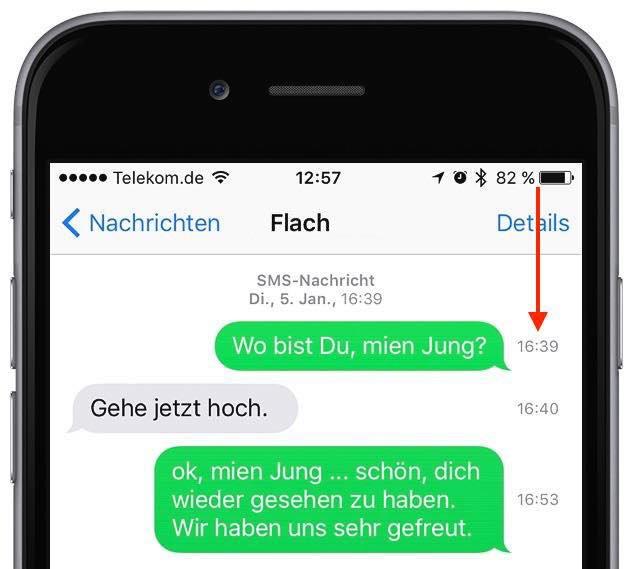 iPhone SMS iMessage Übertragung Uhrzeit anzeigen 2