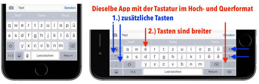 iPhone schneller tippen schreiben Hochformat Querformat 2