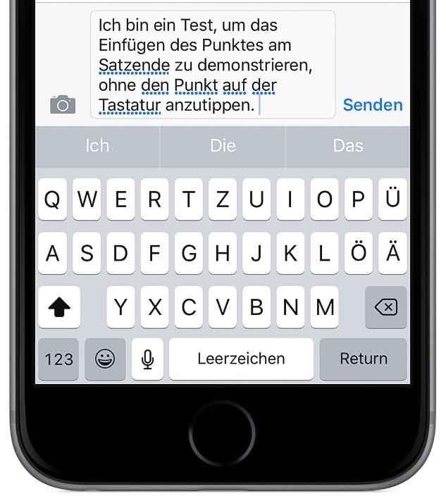 iPhone schneller tippen schreiben Tastatur Punkt Satzende 3