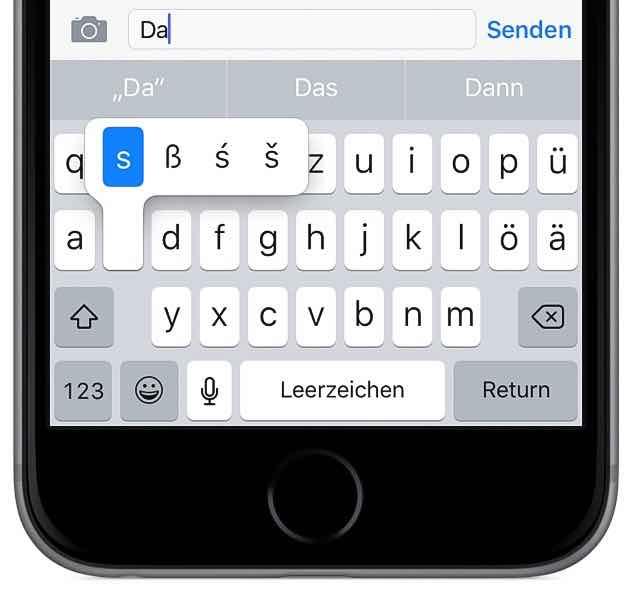 iPhone schneller tippen schreiben Tastatur Sonderzeichen druecken