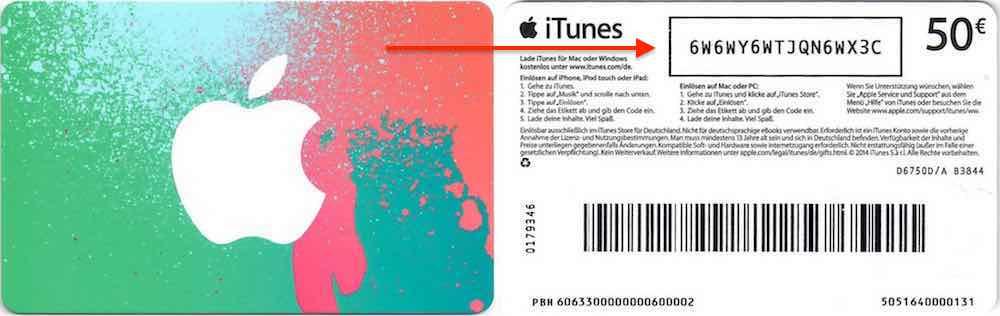 iTunes Karte Guthaben 3D Touch einlösen gutschreiben