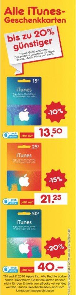 iTunes Karten 20 Prozent Rabatt Netto BB