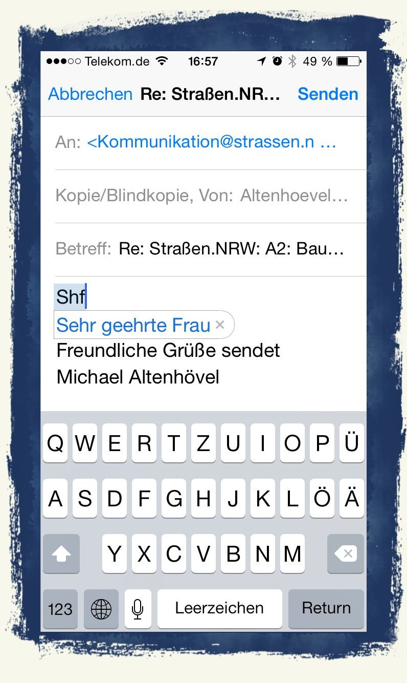iPhone Kurzbefehl Textbaustein Microsoft Word 1