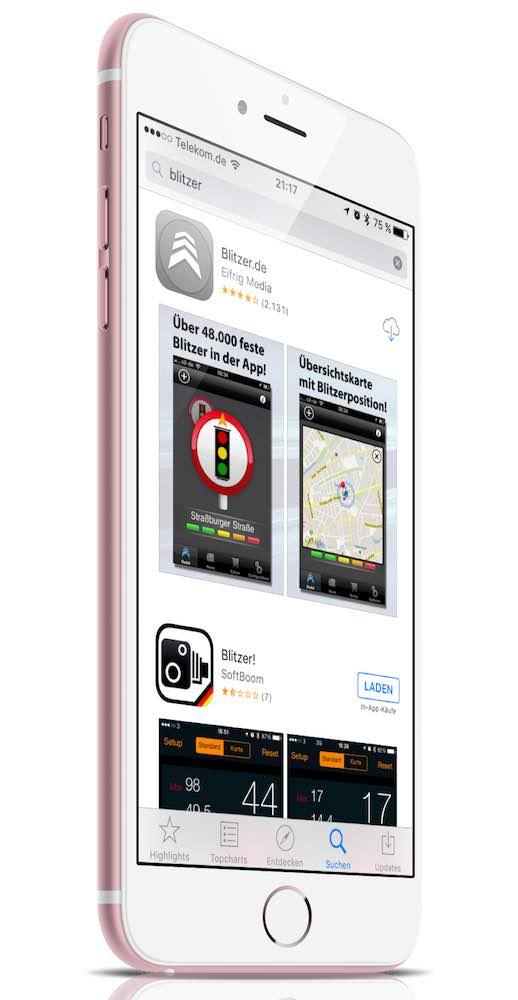 """Im App Store gibt es dafür zahlreiche Programme (Apps), wie hier """"Blitzer.de"""" von Eifrig Media:"""