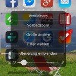 iOS8,Lupe,Zoom,Vergrößerung,iPhone6,Apple,Verkleinern,Vergrößern,Vollbildzoom,Filter wählen,Steuerung einblenden