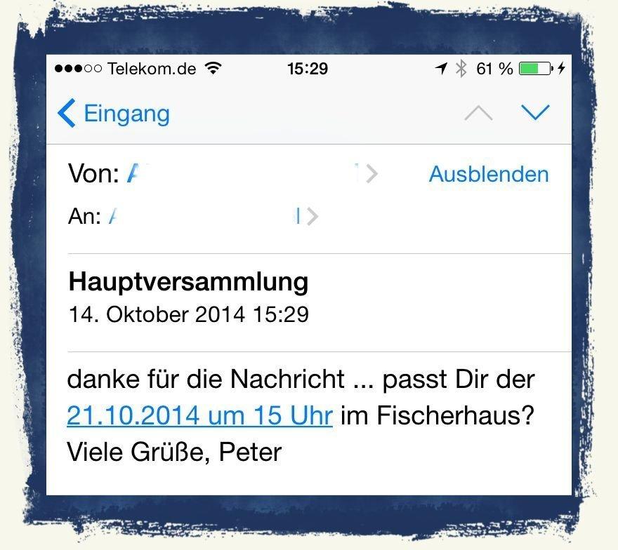 iPhone6,Termin,Kalender,Mail,übernehmen,eintragen 1