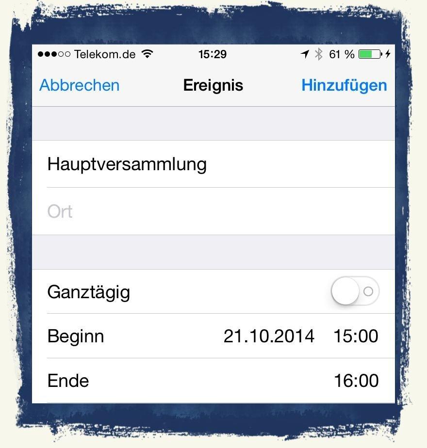 iPhone6,Termin,Kalender,Mail,übernehmen,eintragen 3