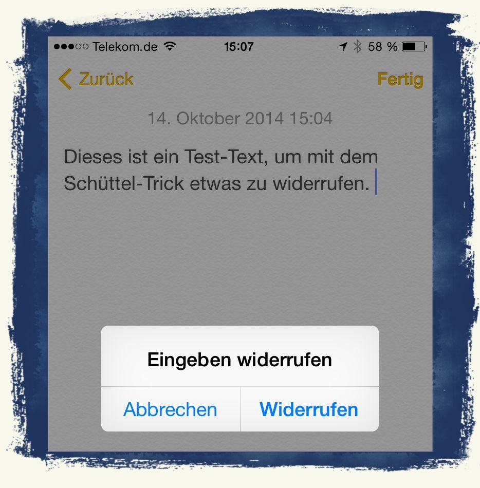 iPhone,Eingabe,widerrufen,Schüttel-Funktion,schütteln 1
