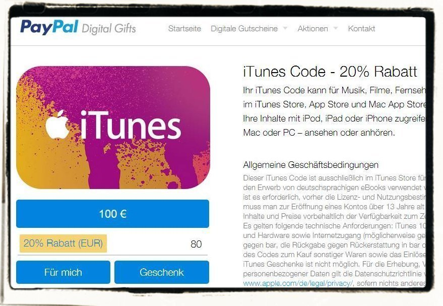 Apple,iTunes,Karte,PayPal,Rabatt,20