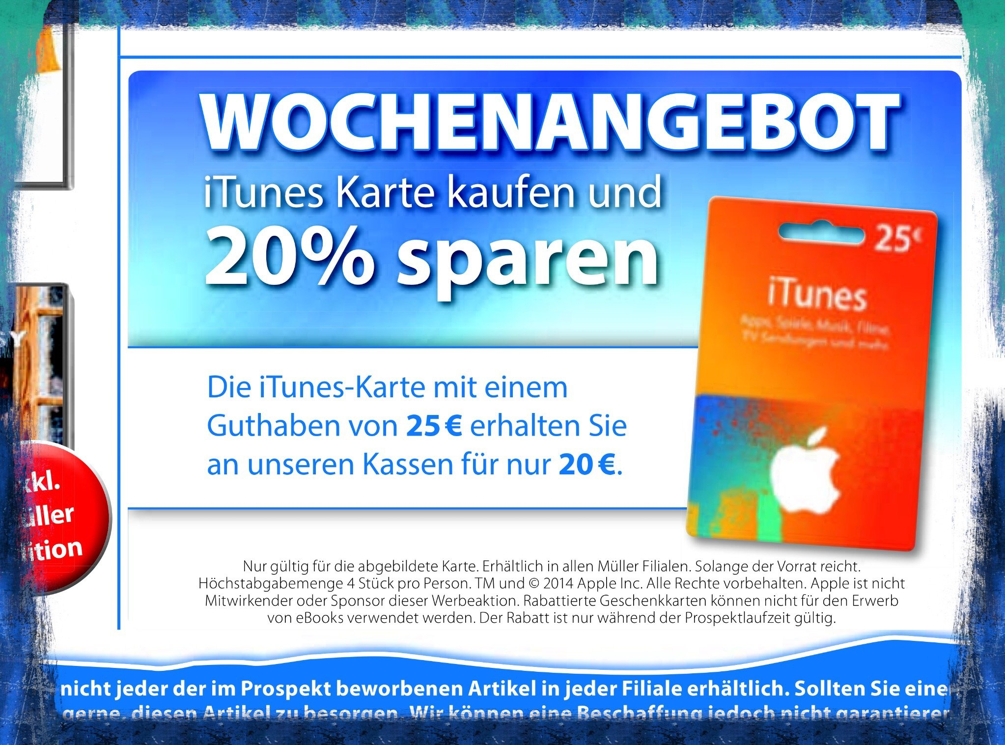 itunes karten 20 rabatt bei drogeriemarkt m ller mobil ganz. Black Bedroom Furniture Sets. Home Design Ideas