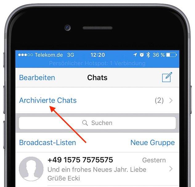Archivierte WhatsApp-Nachrichten auf dem iPhone wieder herstellen 1