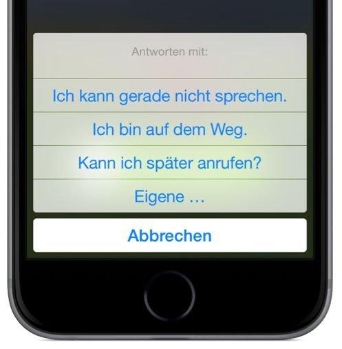 iPhone,Anruf,verhindert,nicht abnehmen,nicht annehmen,Nachricht,SMS,senden 2