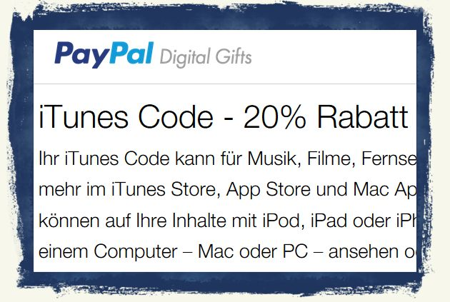 iTunes,Apple,iPhone,iPad,Rabatt,PayPal,20,Prozent BB