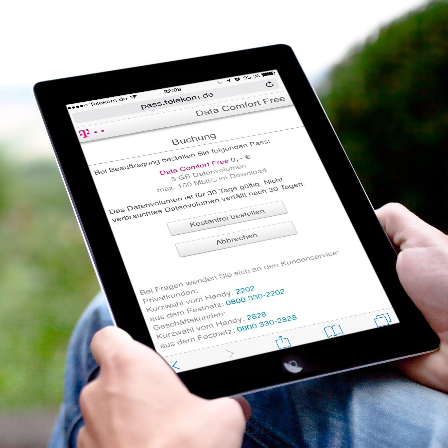 Kostenlos LTE SIM Karte Telekom iPad einrichten Data Comfort Free einrichten 5 GB 2