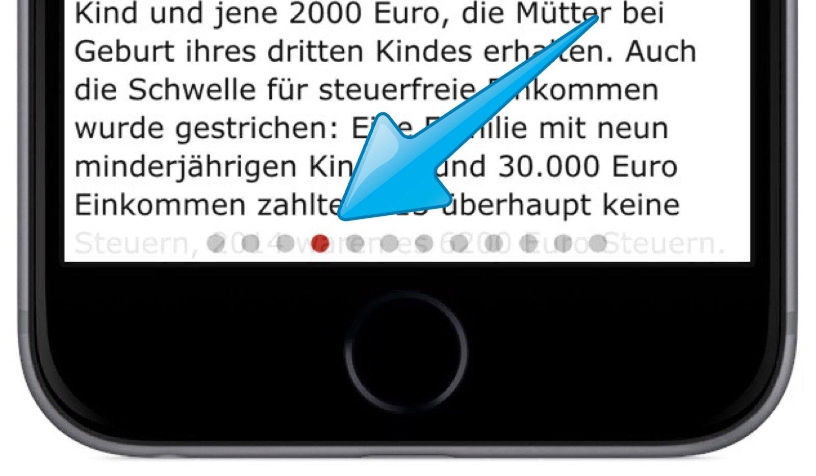 SPIEGEL ONLINE App 2.1 iPhone 6 plus Widget Wischen Pull to refresh aktualisieren Page Control 4