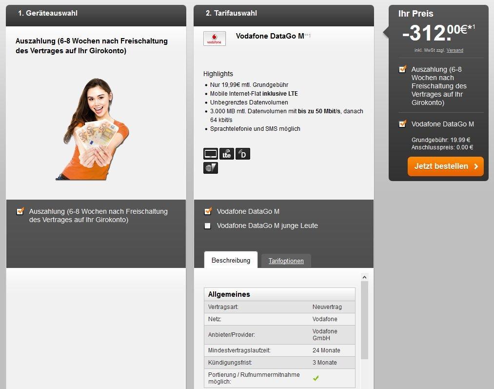 handyflash LTE iPad Datentarif surfen Anschlußgebühr Cashback