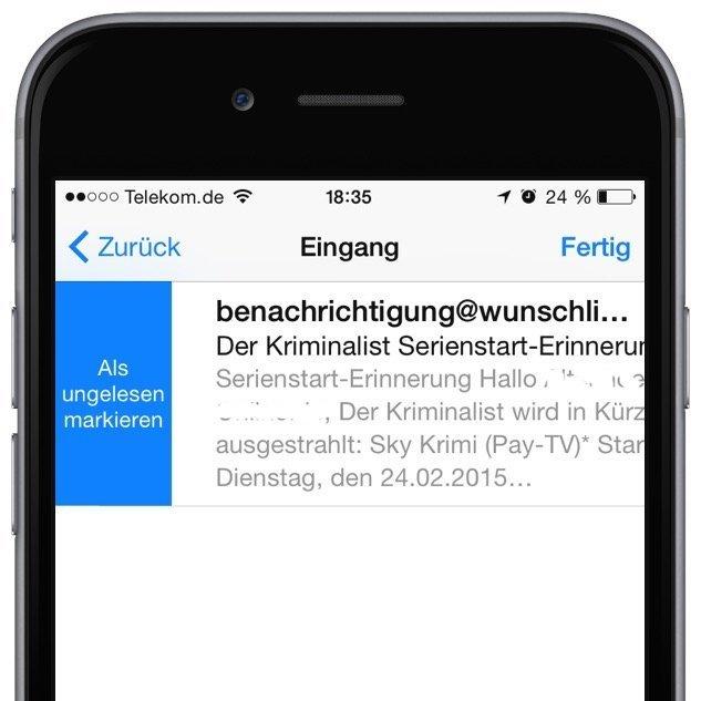 iPhone Mail gelesen ungelesen Markierung Wischgeste 2