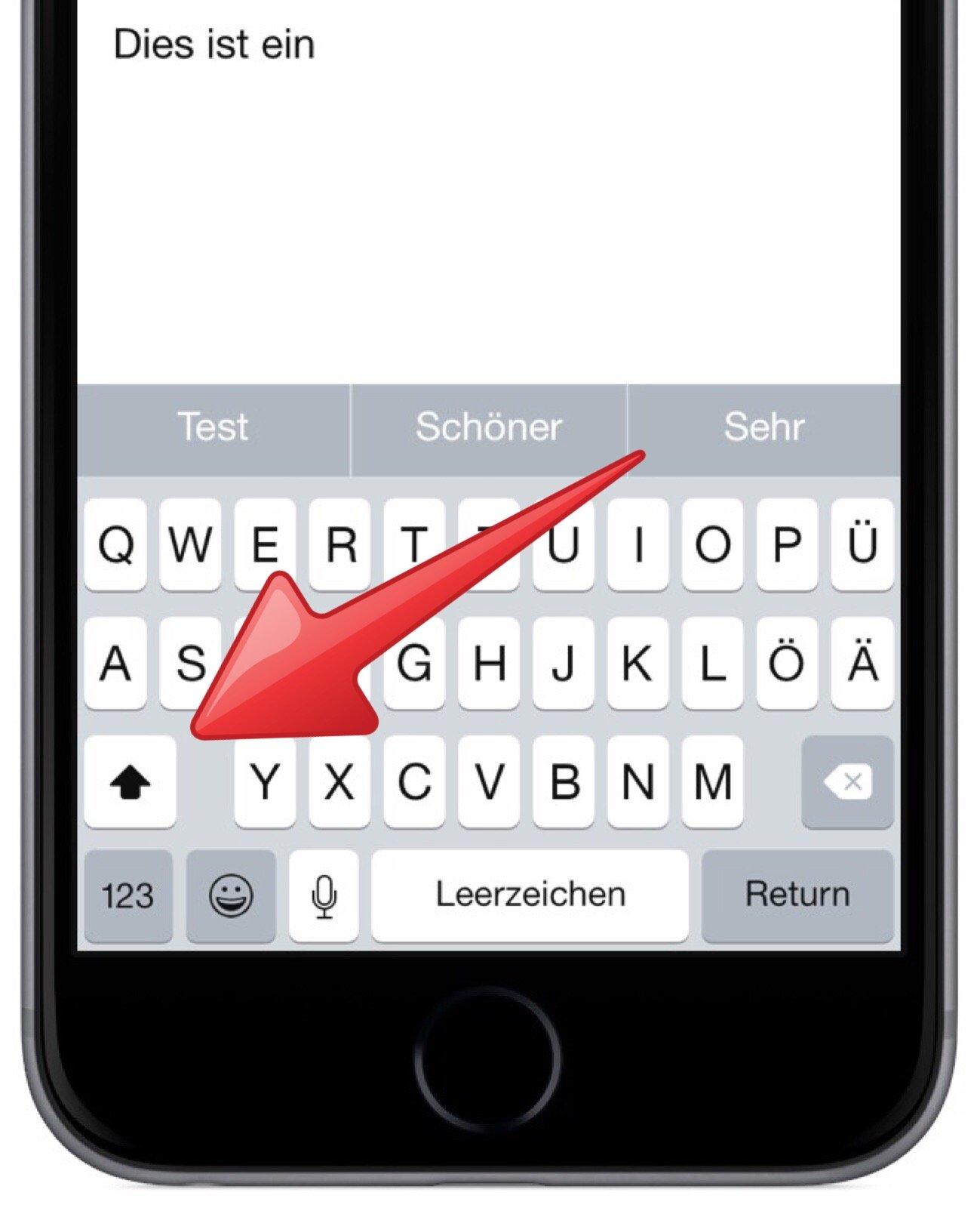 iPhone Tastatur Modus Modi Hochstelltaste Kleinbuchstaben Grossbuchstaben 2