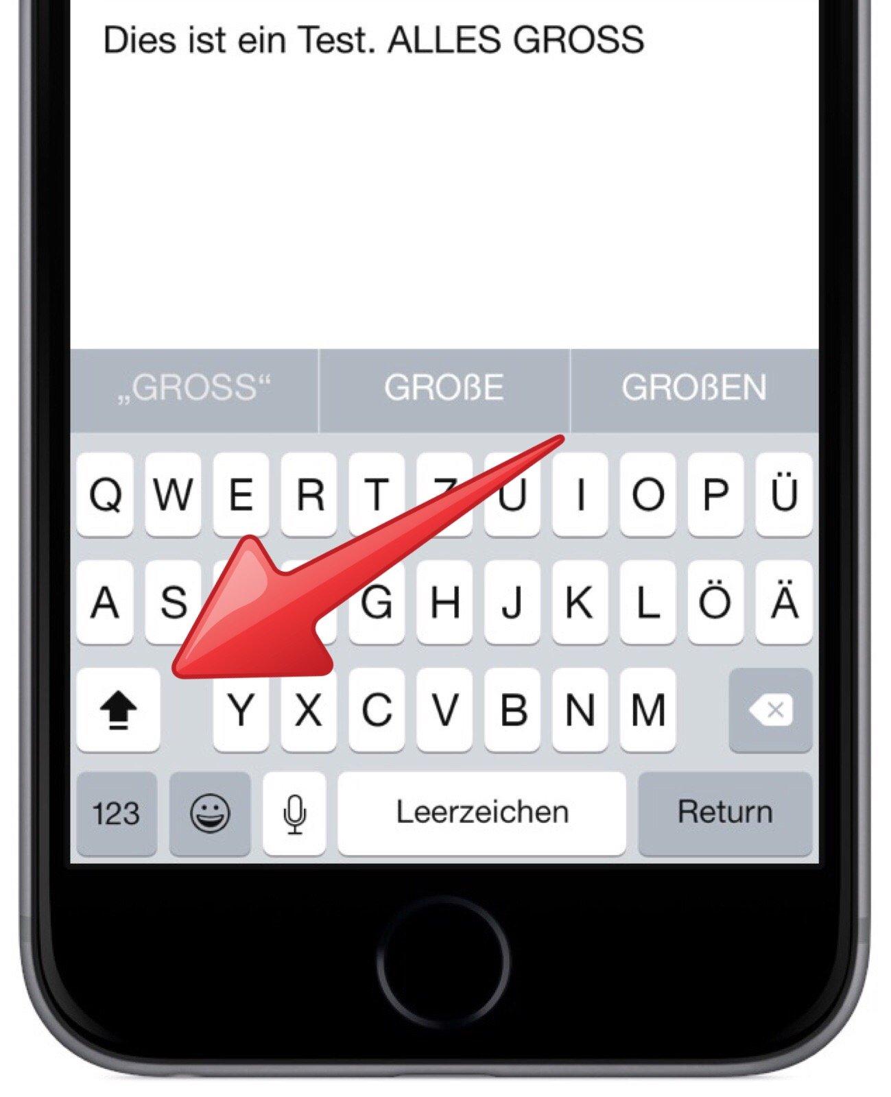 iPhone Tastatur Modus Modi Hochstelltaste Kleinbuchstaben Grossbuchstaben 5