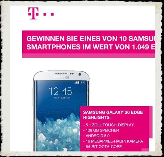 Samsung Galaxy S6 Edge gewinnen Telekom-Gewinnspiel BB