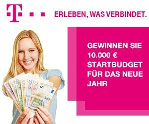 """Beim Gewinnspiel """"10.000 EUR Startbudget für das neue Jahr gewinnen"""" von der Telekom mitmachen! Mit etwas Glück können Sie sich einige Wünsche erfüllen ;-)"""