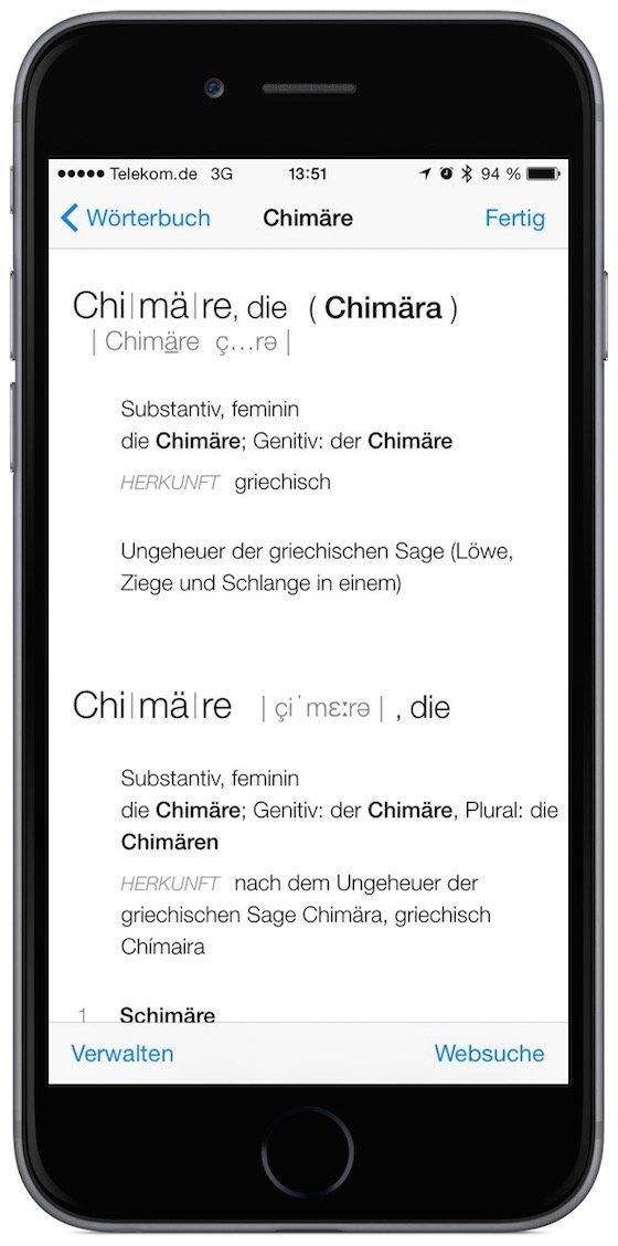 iPhone Safari Wort nachschlagen Wörterbuch Lexikon Hilfe 2