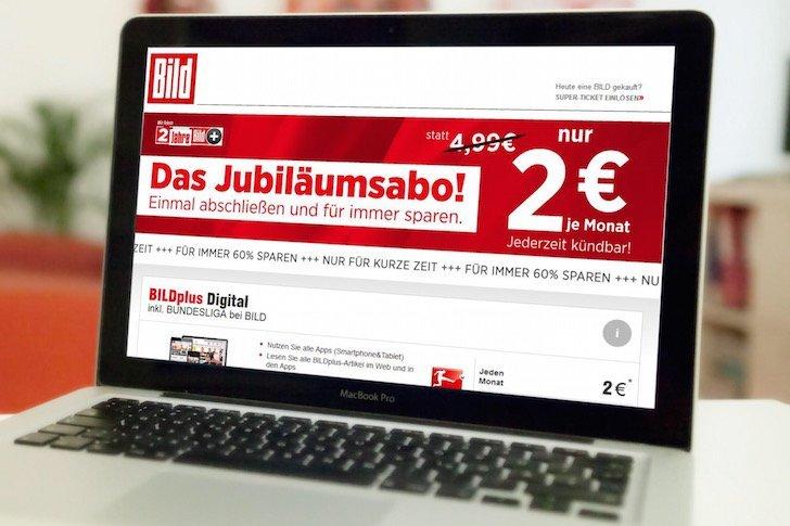 BILDplus BUNDESLIGA bei BILD Geburtstag Aktion 2 EUR Rabatt Weiter gehts 2n