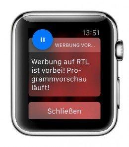 TV Werbung Werbeblock Unterbrechung überspringen vorbei App iPhone Apple Watch Android Smartphone BBneu