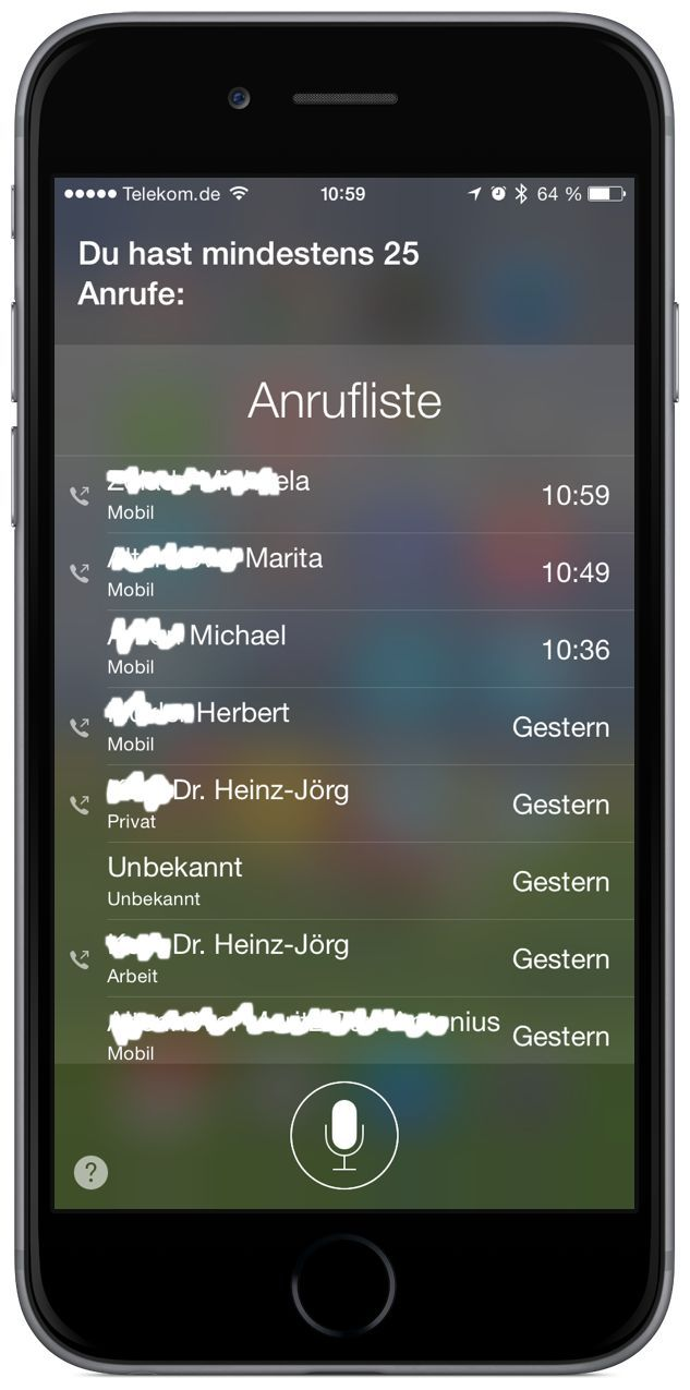 iPhone Anruf Siri Sprachsteuerung Befehl Kommando Homebutton 3