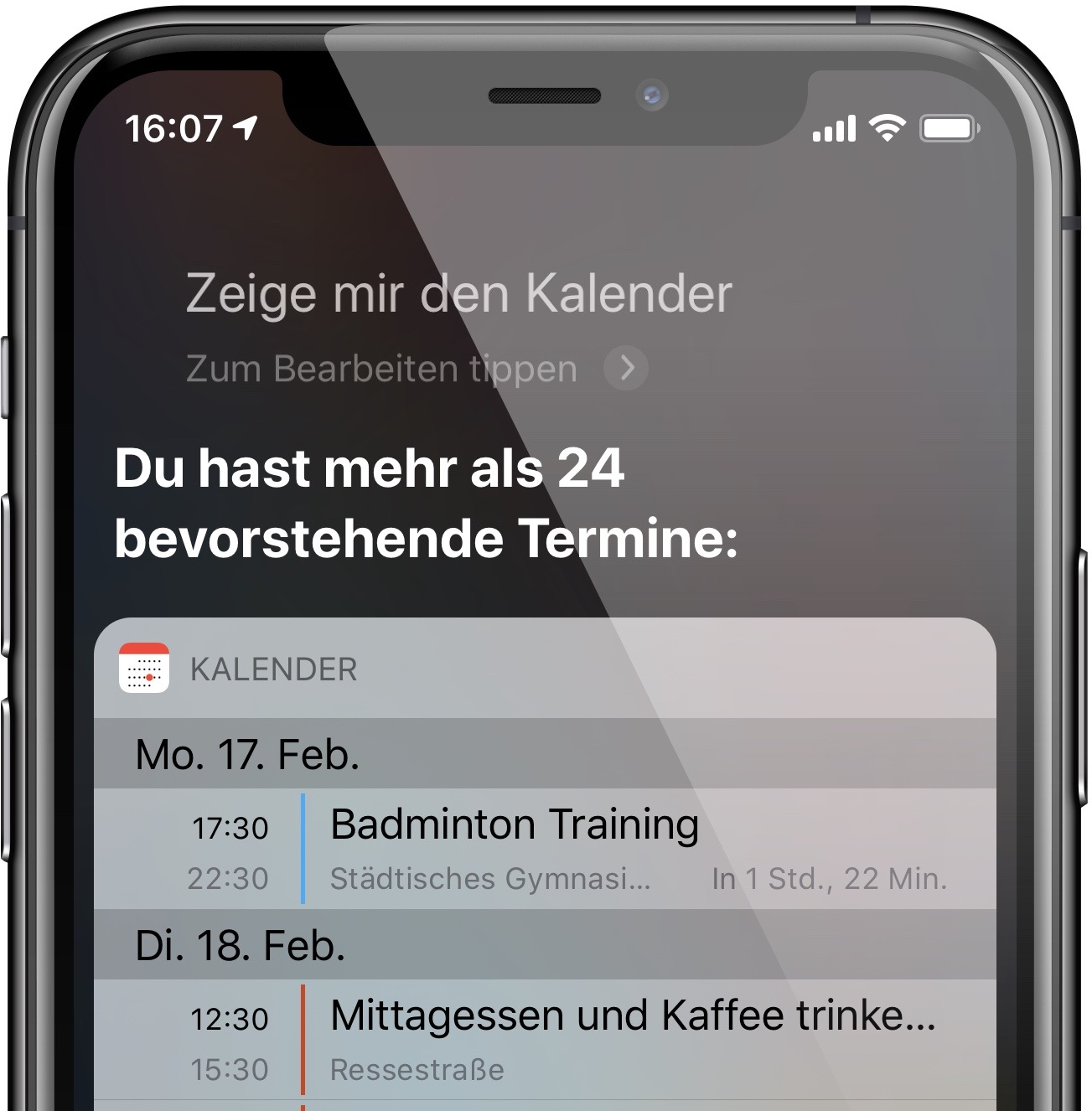 """""""Zeig mit den Kalender"""" zeigt bevorstehende Eintragungen"""