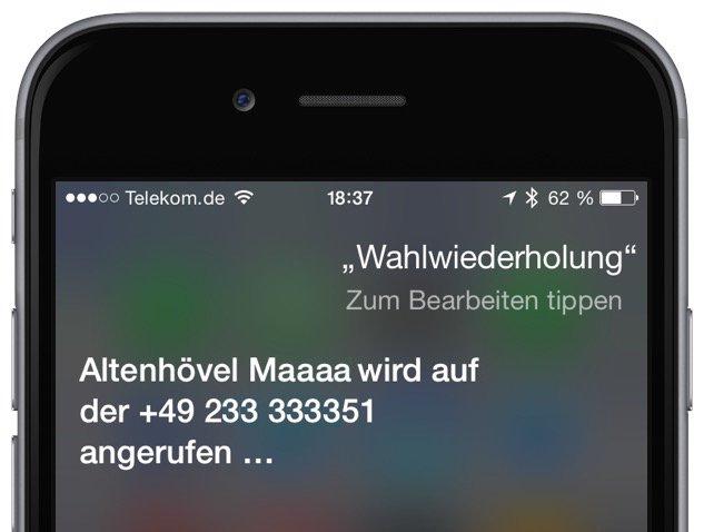 Apple Befehl Kommando Siri Sprachsteuerung iPhone Anruf Wahlwiederholung besetzt 2