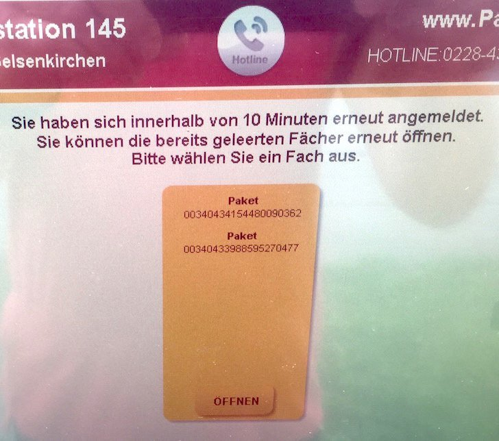 Packstation DHL Deutsche Post Fach nochmal öffnen Paket Päckchen Lieferung Sendung 3