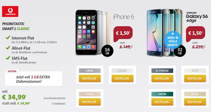 Sparhandy-Deal Phonetastic Smart L Classic iPhone 6 16 GB 1,5 GB Datenflatrate LTE Vodafone Telefon-Flat SMS-Flat Laufzeit BILD1