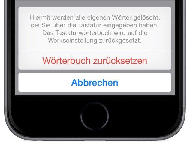 iPhone Wörterbuch ergänzen eigene Begriffe Autokorrektur verbessern Wörterbuch löschen 4