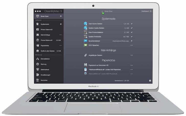 CleanMyMac 3 Pflegen optimieren beschleunigen Mac scannen Bit System entfernt Gigabytes Datenmüll überwachen 2