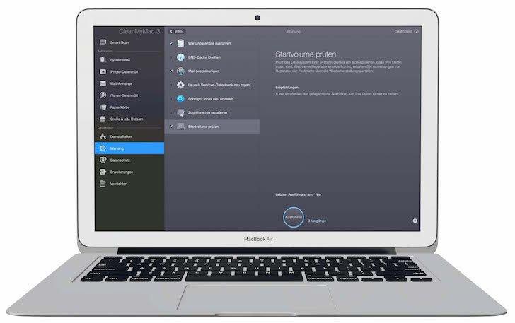 CleanMyMac 3 Pflegen optimieren beschleunigen Mac scannen Bit System entfernt Gigabytes Datenmüll überwachen 3