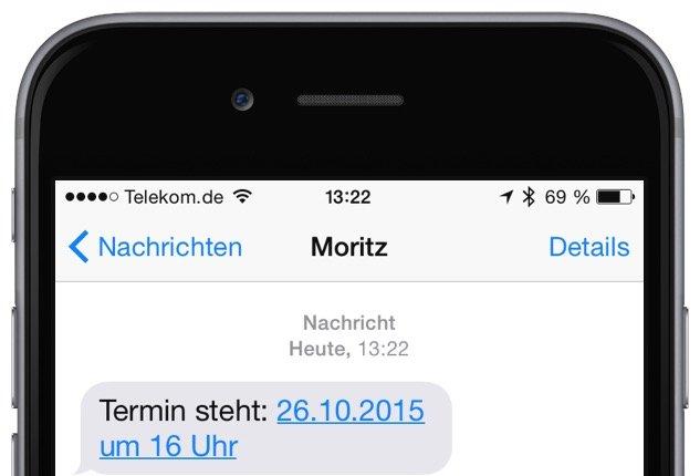 Termin aus iPhone-E-Mail erstellen SMS Threema WhatsApp iMessage Nachricht 1