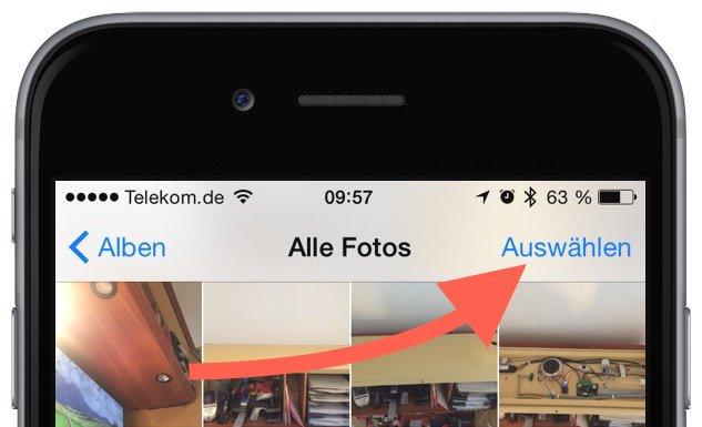 iPhone Foto Photo löschen delete Sammelbefehl alle einzeln Trick Momente markieren 3