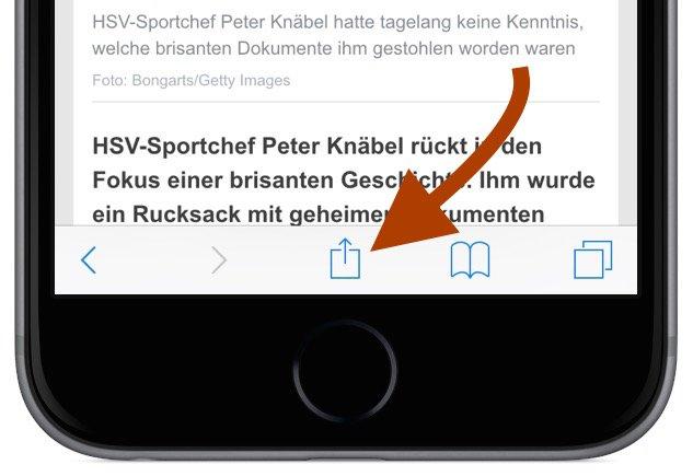 iPhone Safari Internet Browser Artikel Beitrag offline lesen Leseliste Lesezeichen Favorit Flugzeug Flugmodus 2